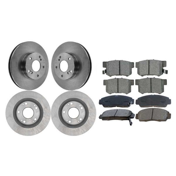 Front and Rear Set Disc Brake Rotors and Ceramic Pads Kit for 06 Acura CSX 2.0L - Part # BRKPKG846