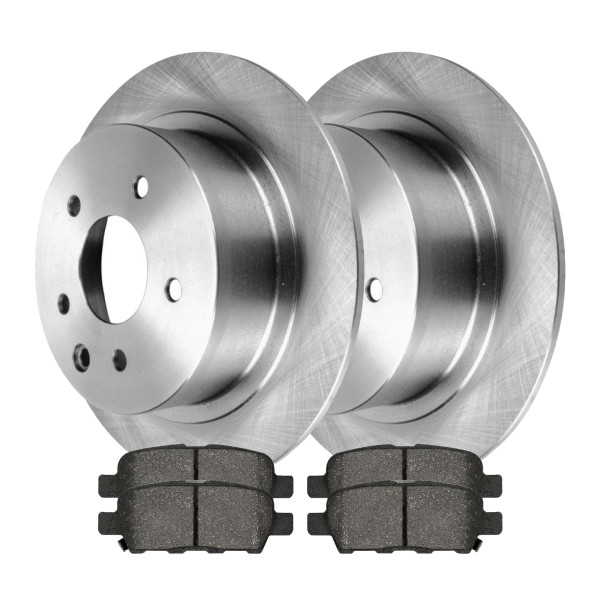 Complete Rear Kit Pair (2) of Disc Rotors and 4 Ceramic Brake Pads Set - Part # CBO413141288CAL