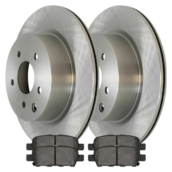 Complete Rear Kit Pair (2) of Disc Rotors and 4 Ceramic Brake Pads Set - Part # CBO413891288CEX