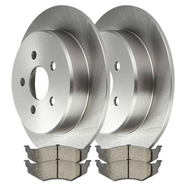 Rear Ceramic Brake Pad and Rotor Bundle 4 Wheel Disc - Part # CBO6372658CCI