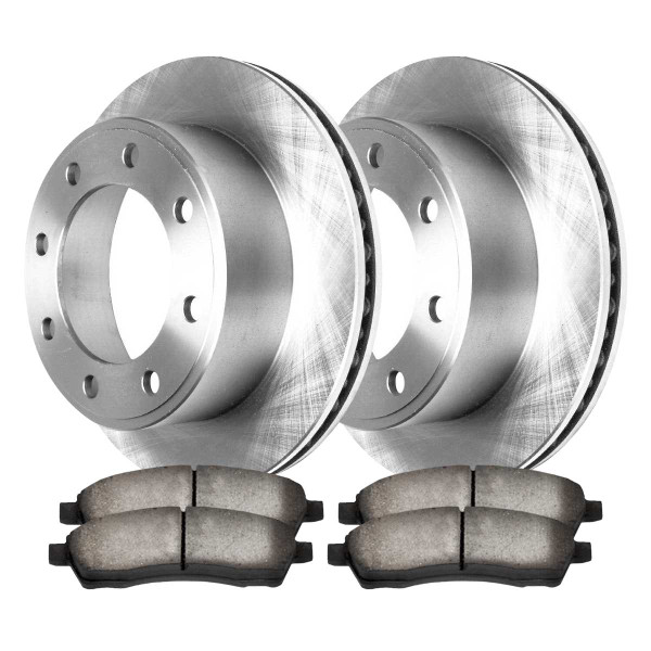 Complete Rear Kit Pair (2) of Disc Rotors and 4 Ceramic Brake Pads Set - Part # CBO64076757CF-