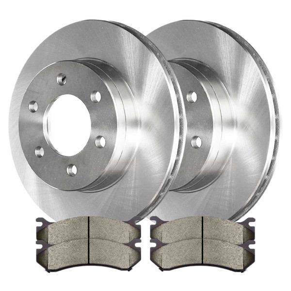 [Set] Complete Front Kit 2 Disc Rotors & 4 Metallic Brake Pads Set - Part # CBO65056785AVS