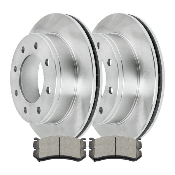 Complete Rear Kit Pair (2) of Disc Rotors and 4 Ceramic Brake Pads Set - Part # CBO65057785CSI