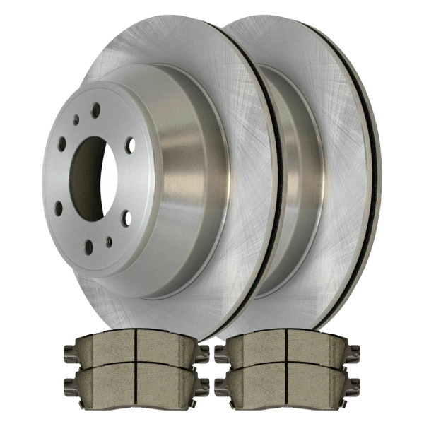 Rear Set Disc Brake Rotors and Ceramic Pads Kit For 2002-2009 Chevy Trailblazer - Part # CBO65075883CTR
