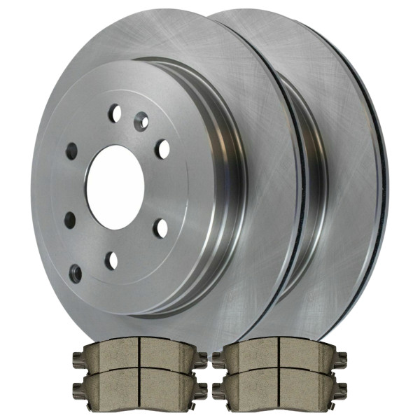 Complete Rear Kit Pair (2) of Disc Rotors and 4 Ceramic Brake Pads Set - Part # CBO65153883COU