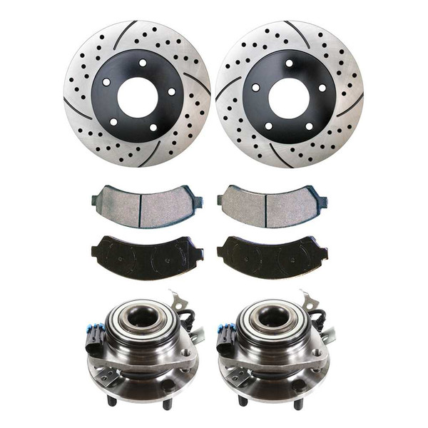 [Front Set] 2 Drilled & Slotted Brake Rotors & 1 Set Performance Ceramic Brake Pads & 2 Hub Bearing - Part # HB613126-PR65049RL
