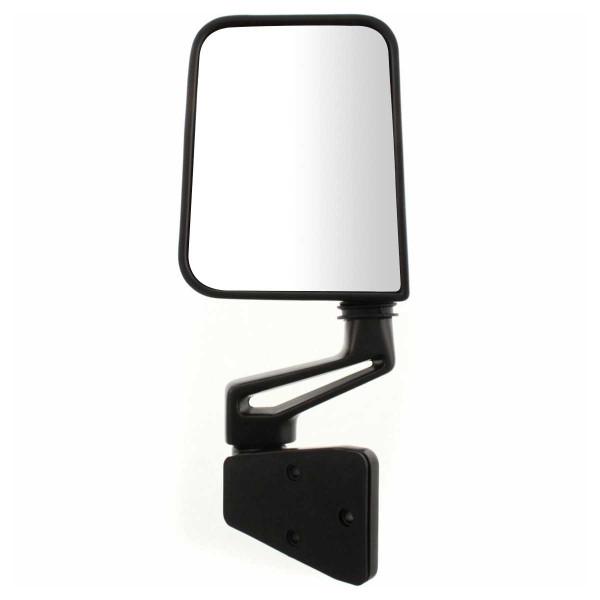 Black Manual Driver Left Side Mirror for 87-02 Jeep Wrangler Door Hinge Mounted - Part # KAPCH1320102
