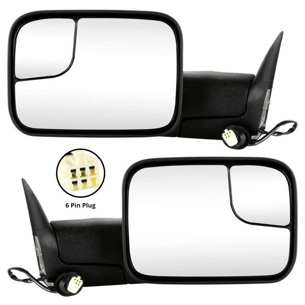 Power Heated Towing Side View Mirror Pair 6 Hole 5 Prong Connector - Part # KAPCH1320307PR