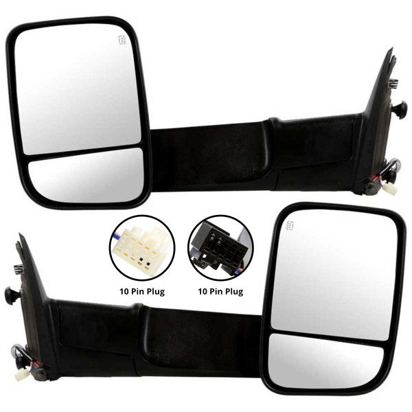Pair Power Heated LED Signal Puddle Tow Side Mirrors for 2009-2012 Ram 1500 - Part # KAPCH1320315PR