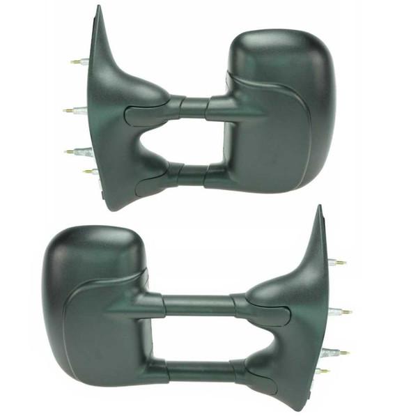 Textured Black Manual Tow Folding Side Mirror Pair for 2003-2011 Ford E-150 - Part # KAPFO1321238PR