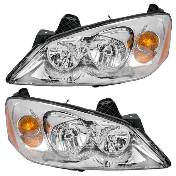 Pair 2 Left Right Headlight Headlamp for 2005-2010 Pontiac G6 FWD w/o CTF Pkg - Part # KAPPT10086A1PR