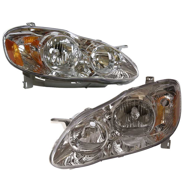 Pair of Toyota Corolla Headlight Headlamp Assembly Units Front Left & Right Set - Part # KAPTY10090D1PR