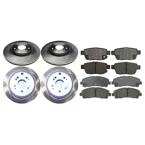 2 Complete Front & Rear Pair 4 Rotors and 8 Performance Ceramic Pads - Part # PCD1102R41400