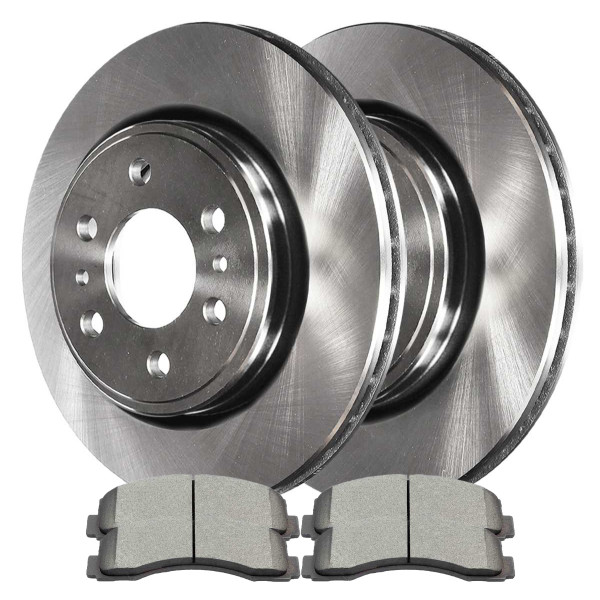 [Front Set] 2 Brake Rotors & 1 Set Performance Ceramic Brake Pads - Part # PCD1414R64155