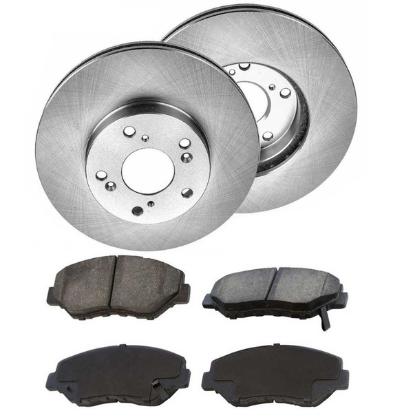 Front Brake Rotors Performance Ceramic Pads For 09-10 Honda Accord LX-LX P-LX S - Part # PCDR4125941259914