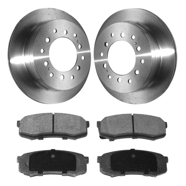 [Set] 2 Brake Rotors & 1 Set Performance Ceramic Brake Pads - Part # PCDR4129641296606