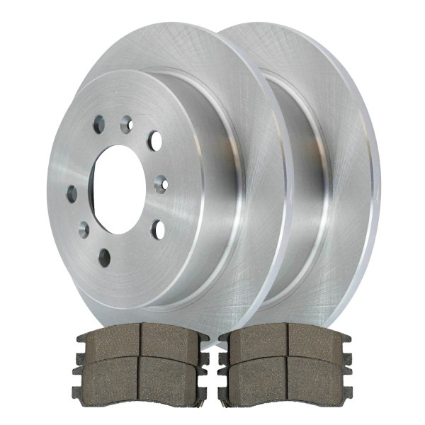 [Set] 2 Brake Rotors & 1 Set Performance Ceramic Brake Pads - Part # PCDR6512765127698