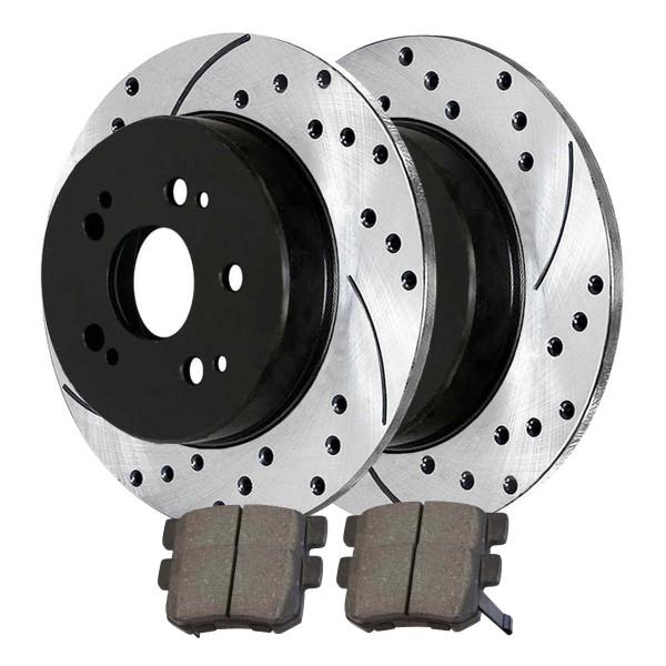 [Rear Set] 2 Drilled & Slotted Performance Brake Rotors & 1 Set Ceramic Brake Pads - Part # PERF41247537