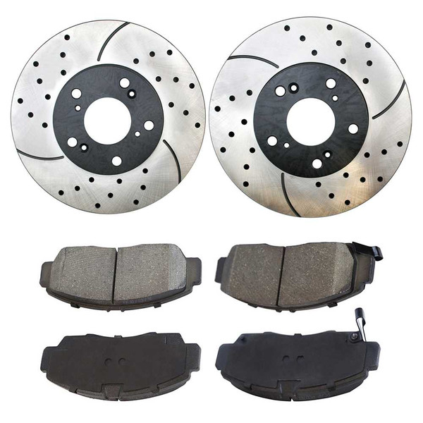 [Front Set] 2 Drilled & Slotted Performance Brake Rotors & 1 Set Ceramic Brake Pads - Part # PERF41259787