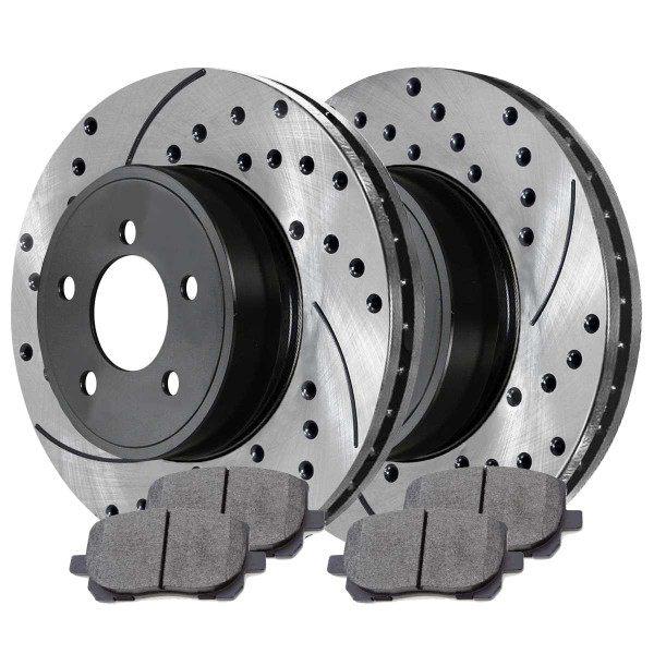 [Front Set] 2 Drilled & Slotted Performance Brake Rotors & 1 Set Ceramic Brake Pads - Part # PERF41272923