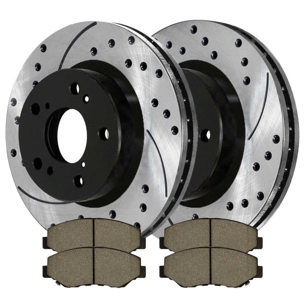 [Front Set] 2 Drilled & Slotted Performance Brake Rotors & 1 Set Ceramic Brake Pads - Part # PERF41277914