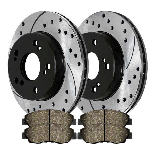 [Set] Front Performance Drilled Slotted Brake Rotors & Ceramic Pads - Part # PERF41313465A