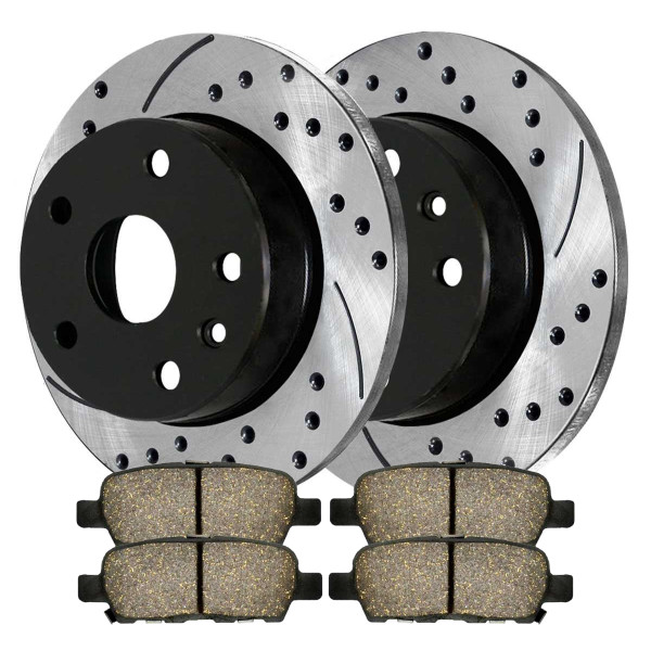 [Rear Set] 2 Drilled & Slotted Performance Brake Rotors & 1 Set Performance Ceramic Brake Pads - Part # PERF41314905