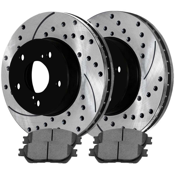 Front Performance Ceramic Brake Pad and Performance Drilled and Slotted Rotor Bundle - Part # PERF41316906