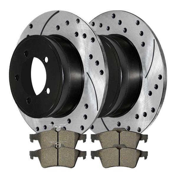 [Rear Set] 2 Drilled & Slotted Performance Brake Rotors & 1 Set Ceramic Brake Pads - Part # PERF413671095