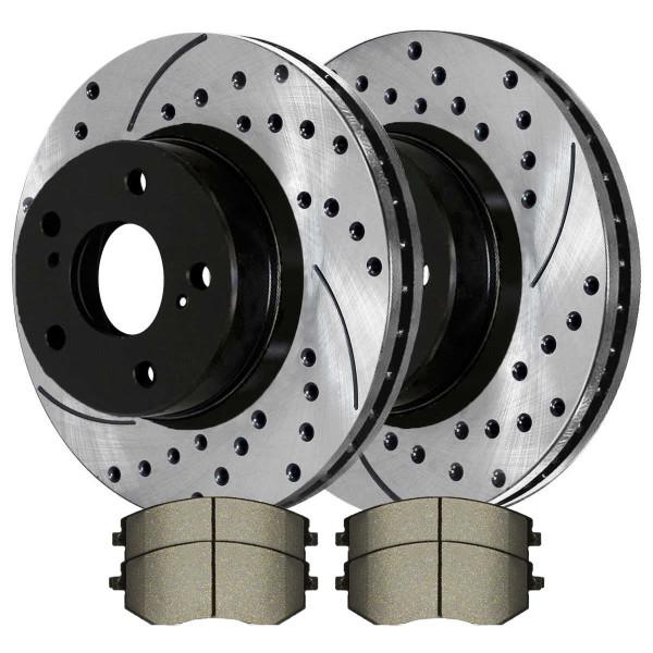 [Front Set] 2 Drilled & Slotted Performance Brake Rotors & 1 Set Ceramic Brake Pads - Part # PERF41409929