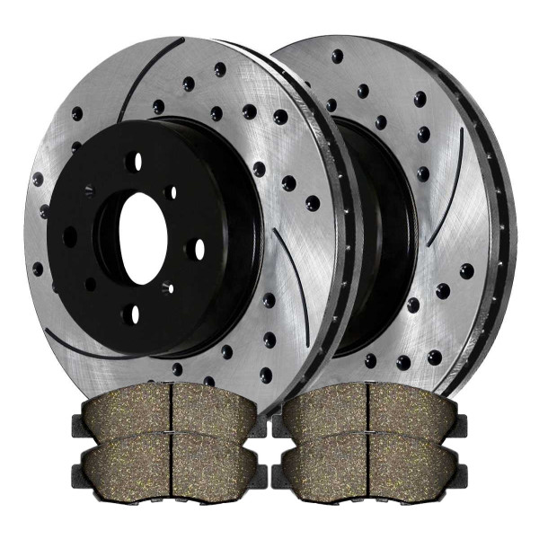 [Front Set] 2 Drilled & Slotted Performance Brake Rotors & 1 Set Ceramic Brake Pads - Part # PERF4297465A