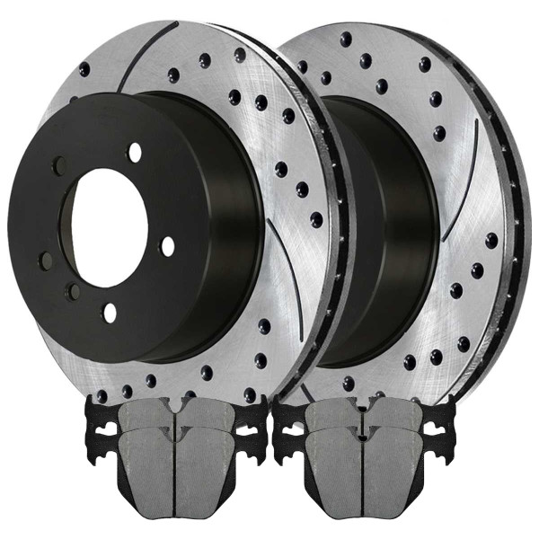 Rear Performance Ceramic Brake Pad and Performance Drilled and Slotted Rotor Bundle - Part # PERF44221683