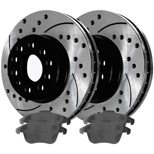 Front Performance Ceramic Brake Pad and Performance Drilled and Slotted Rotor Bundle - Part # PERF442811375
