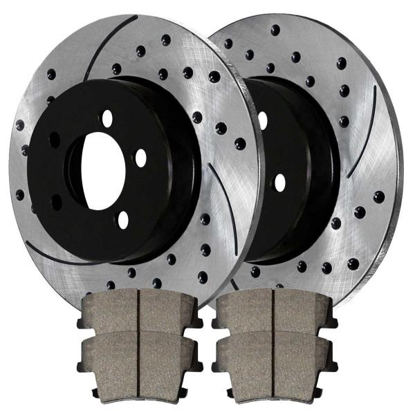 [Rear Set] 2 Drilled & Slotted Performance Brake Rotors & 1 Set Ceramic Brake Pads - Part # PERF630231057