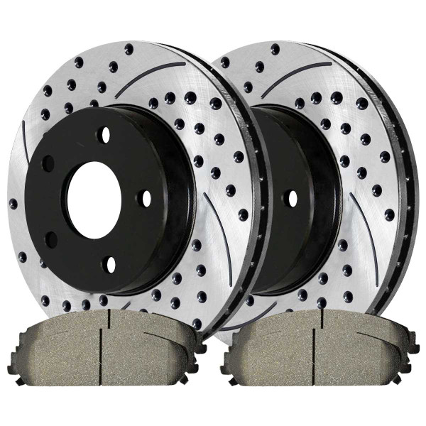 Front Performance Ceramic Brake Pad and Performance Drilled and Slotted Rotor Bundle 13.6 Inch Rotor Diameter - Part # PERF630251058