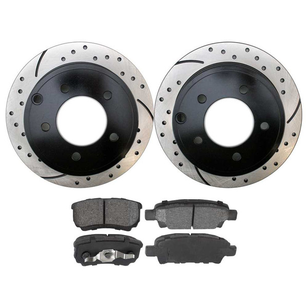 [Rear Set] 2 Drilled & Slotted Performance Brake Rotors & 1 Set Performance Ceramic Brake Pads - Part # PERF630381037
