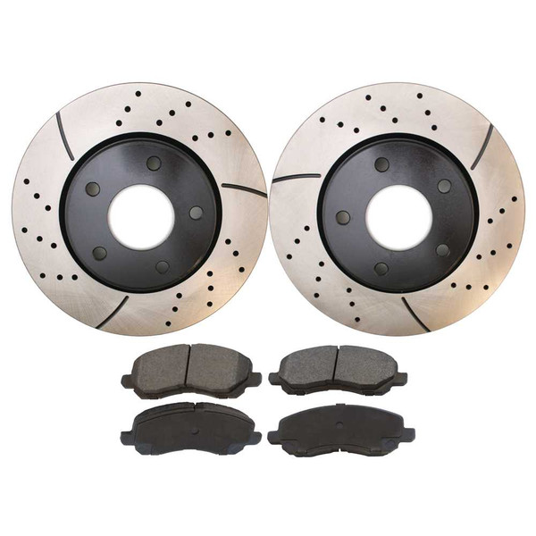 Front Drilled and Slotted Brake Rotors & Performance Ceramic Brake Pads - Part # PERF63039866