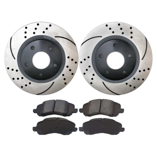 [Front Set] 2 Drilled & Slotted Performance Brake Rotors & 1 Set Ceramic Brake Pads - Part # PERF630401285
