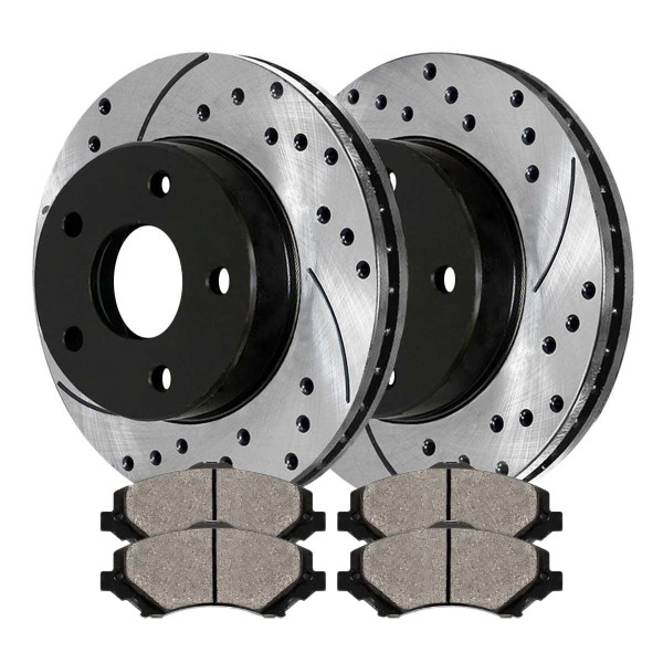[Front Set] 2 Drilled & Slotted Performance Brake Rotors & 1 Set Ceramic Brake Pads - Part # PERF630531273