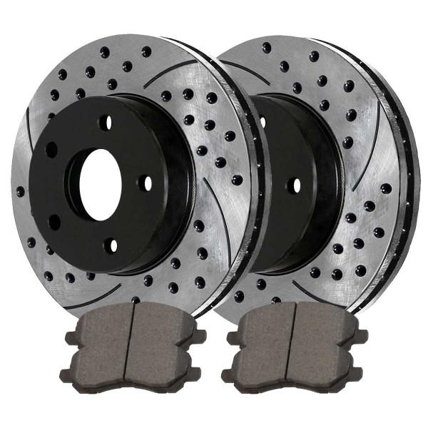[Front Set] 2 Drilled & Slotted Performance Brake Rotors & 1 Set Ceramic Brake Pads - Part # PERF6401866