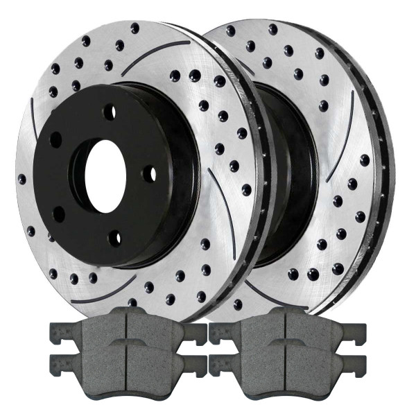 [Front Set] 2 Drilled & Slotted Performance Brake Rotors & 1 Set Ceramic Brake Pads - Part # PERF641251047