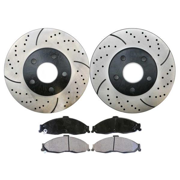 [Front Set] 2 Drilled & Slotted Performance Brake Rotors & 1 Set Ceramic Brake Pads - Part # PERF65036749