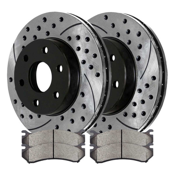 [Front Set] 2 Drilled & Slotted Performance Brake Rotors & 1 Set Ceramic Brake Pads - Part # PERF65056785