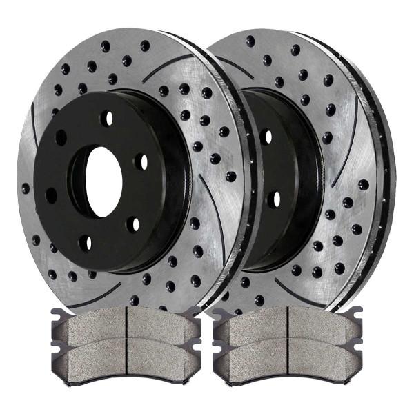 [Front Set] 2 Drilled & Slotted Performance Brake Rotors & 1 Set Ceramic Brake Pads - Part # PERF65056785