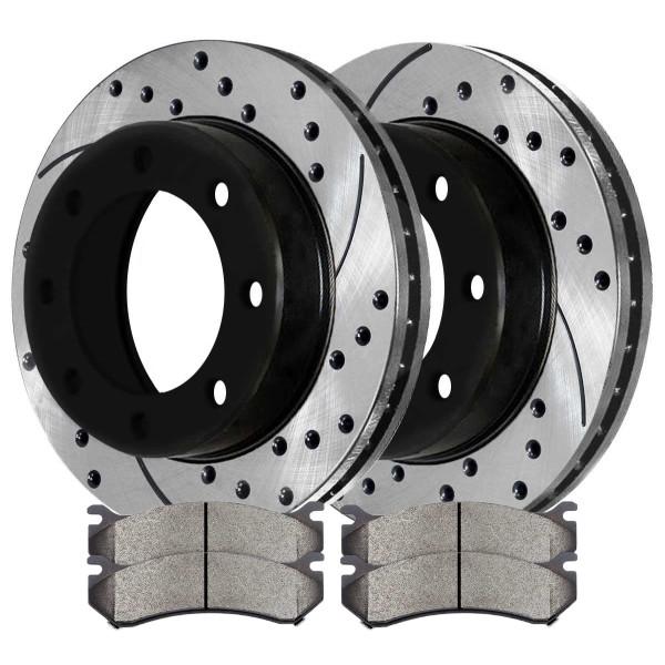[Rear Set] 2 Drilled & Slotted Performance Brake Rotors & 1 Set Ceramic Brake Pads - Part # PERF65057785