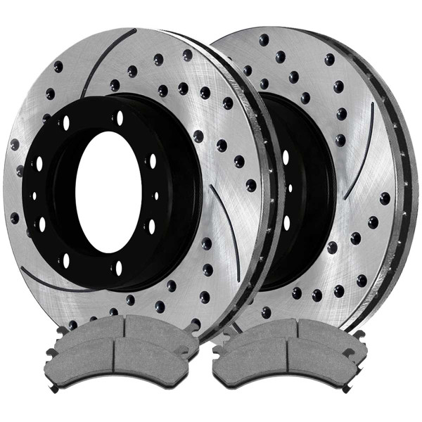 [Front Set] 2 Drilled & Slotted Performance Brake Rotors & 1 Set Ceramic Brake Pads - Part # PERF65074784