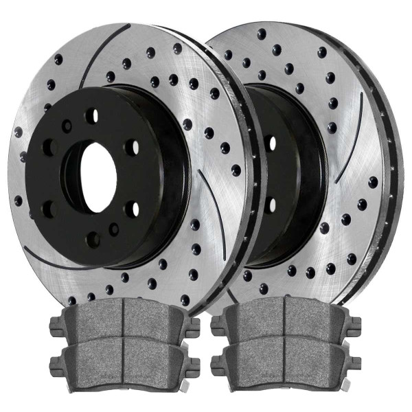 [Rear Set] 2 Drilled & Slotted Performance Brake Rotors & 1 Set Ceramic Brake Pads - Part # PERF65075883