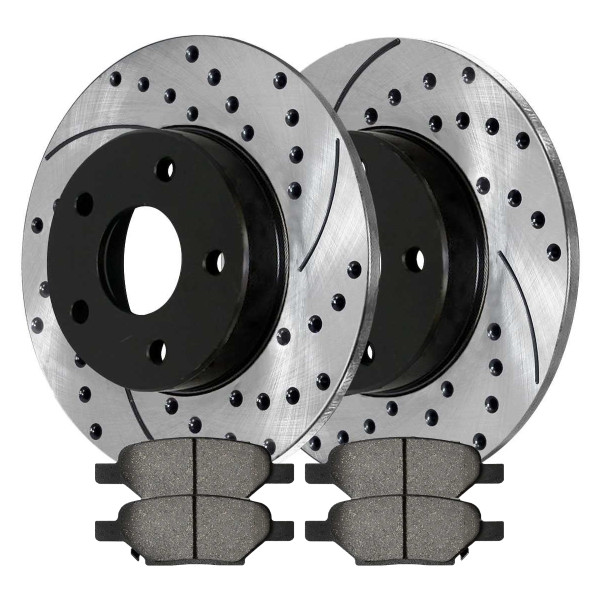 Rear Kit Performance Drilled Slotted Brake Rotors & Ceramic Pads - Part # PERF650961033