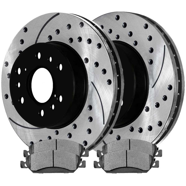 Front Kit Performance Drilled Slotted Brake Rotors & Ceramic Pads - Part # PERF650991092