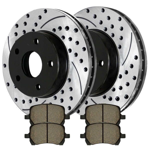 Front Kit Performance Drilled & Slotted Brake Rotors & Ceramic Pads - Part # PERF651241160